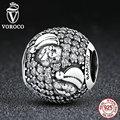 VOROCO New Design 925 Sterling Silver Santa Claus Charm Charms fit Pandora Bracelets Bead & Jewelry Makings Christmas Gift C066