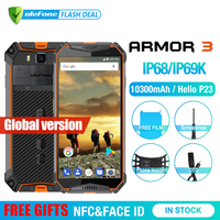 Ulefone Armor 3 IP68 Waterproof Mobile Phone Android8.1 5.7 FHD+ Octa Core 4GB+64GB NFC 21MP 10300mAh Global Version Smartphone
