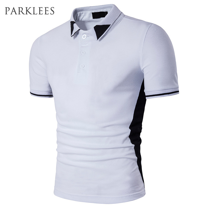 Plain   Polo   Shirt Men 2017 Short Sleeve Mens Casaul Black White   Polo   Shirts Slim Fit Patch Designs Cotton Camisa   Polo   Masculina