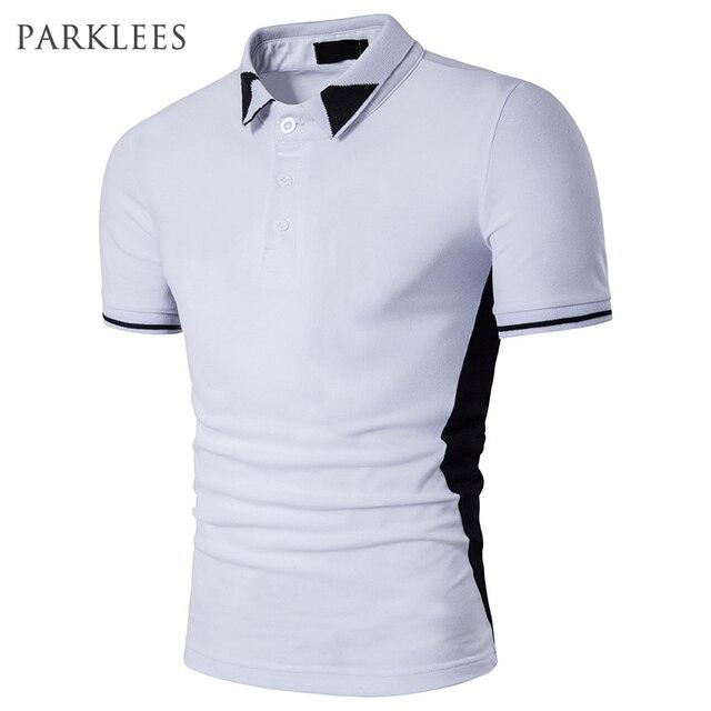 098b56c38b Plain polo camisa de manga curta homens 2017 casaul preto branco slim fit  camisas projetos patch algodão Masculina