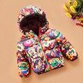 NUEVA Venta Caliente Con Capucha Niñas niños Abrigo de Invierno de los Muchachos de La Manga Larga Chaqueta de Invierno Chaqueta A Prueba de Viento de Invierno Niños de los niños de Dibujos Animados de impresión