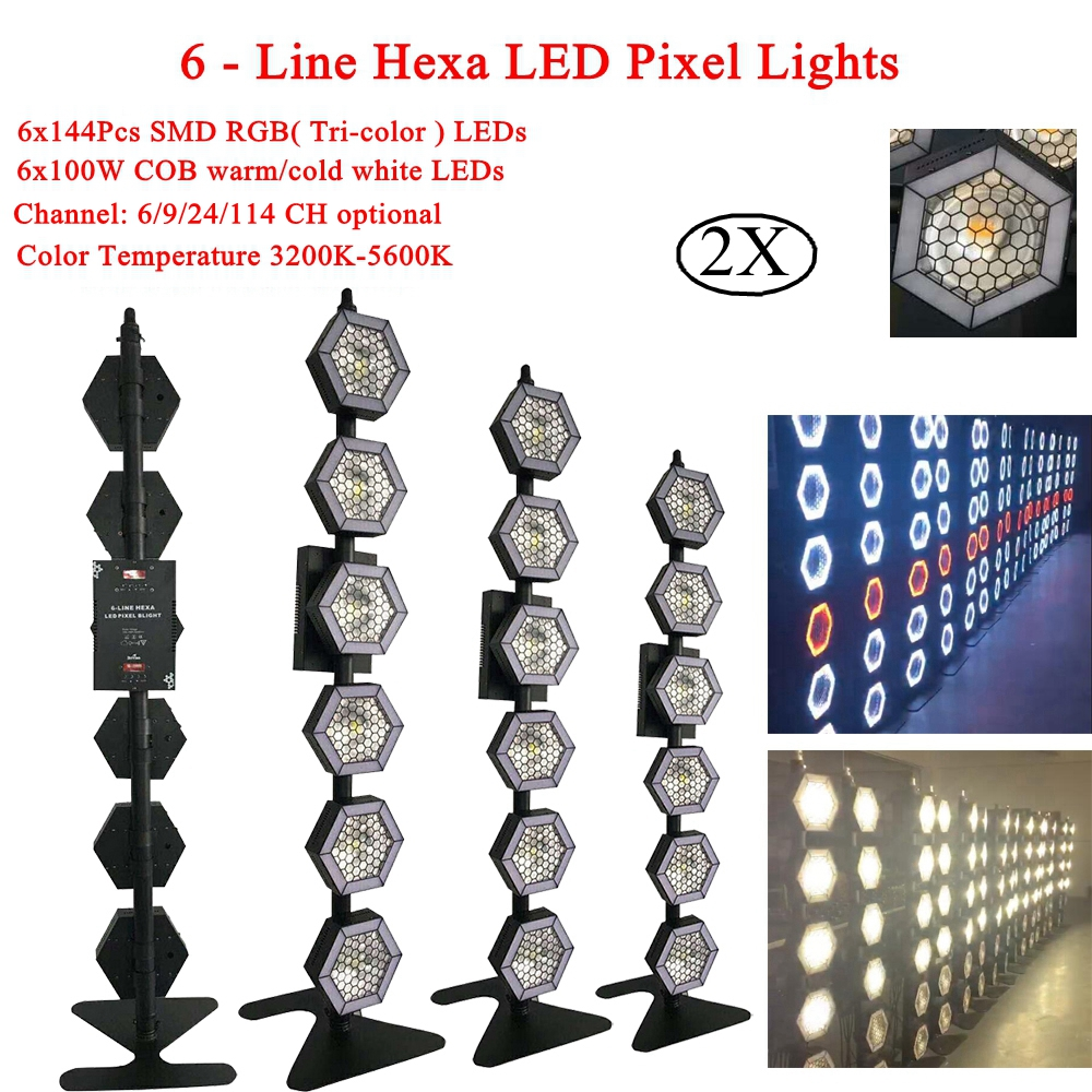 2Pcs/Lot Newest 6x100W 6-Line Hexa LED Pixel Lights LED RGB 3IN1 Stage Lights For Disco DJ KTV Xmas Wedding Bar Party Light image