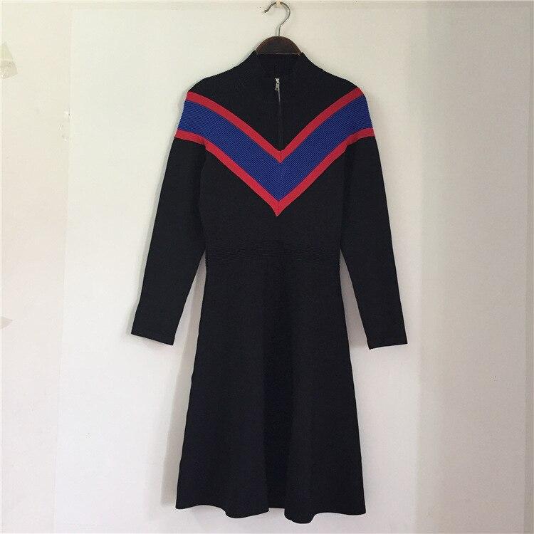 Spring Vintage Black Striped Sweater Dress Women Runway Elegnat Long Sleeve Zipper Stand Neck Party Knitted Dresses Vestidos