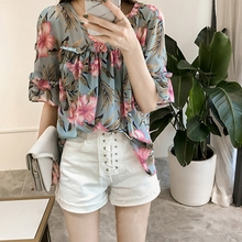 Floral Printed Chiffon Blouse Women Sexy Cold Shoulder Shirts Summer Casual Butterfly Sleeve Tops Laides Elegant camisas mujer недорого