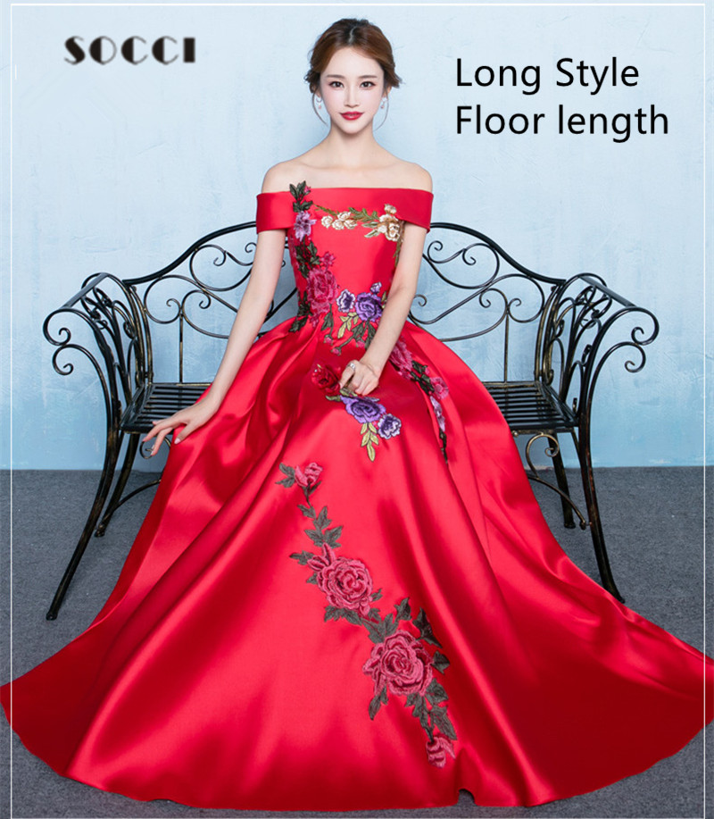 Red Long Evening Dress Boat Neck Tea-length Formal Wedding party ...