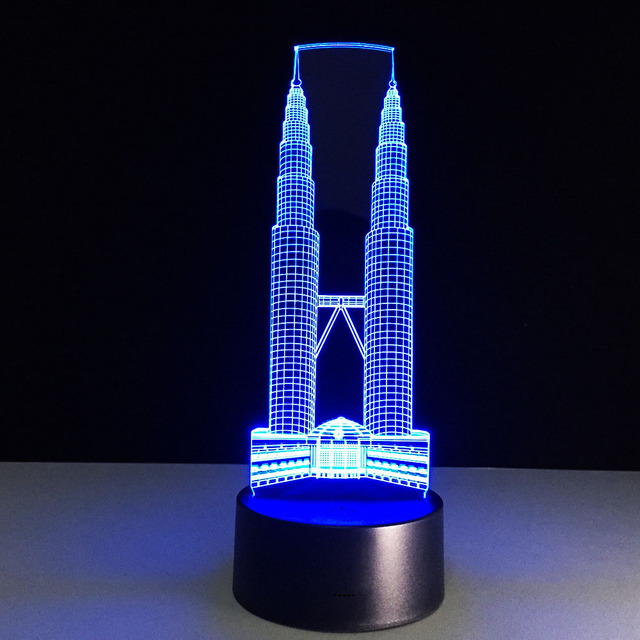 LED USB Novelty Colors Table Lampe Building 3D Visual Touch Switch ...