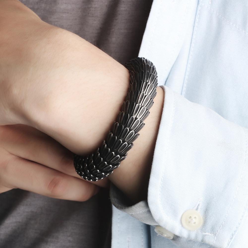 Image 5 - KALEN Punk Animal Dragon Head Charm Bracelet Men Stainless Steel Black Matte China Dragon Blessing Bracelet Bangle Jewelry-in Charm Bracelets from Jewelry & Accessories