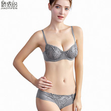ultra thin transparent lace embroidery pattern two-buckle push up bra lingerie