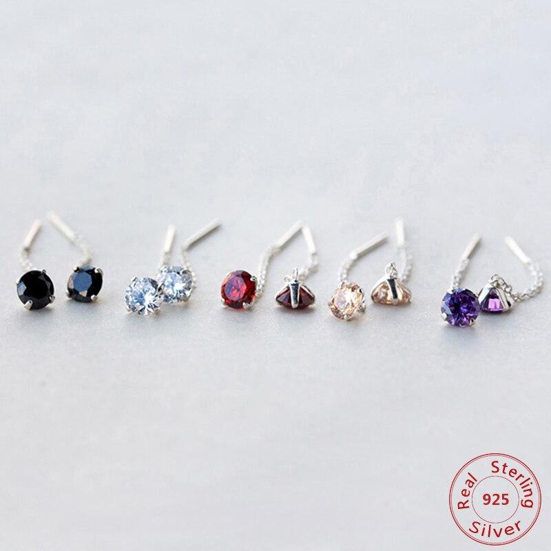 925-Sterling-Silver Jewelry Stud-Earring Cz-Stone Purple/champagne Women Real.