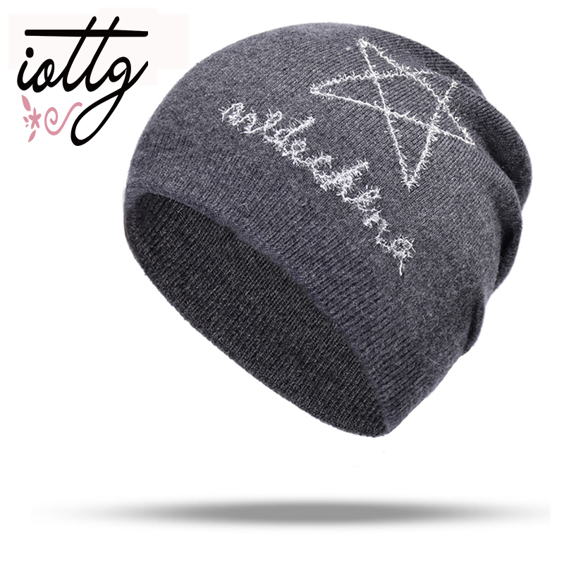 IOTTG Pentagram Embroidery Winter Hats Women Pure Color Thick Soft   Skullies     Beanies   Winter Warm Girl Cashmere Knit Hat Caps