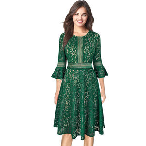 faa401eb6 Vfemage Women Vintage Retro Floral Lace Sleeve Cocktail
