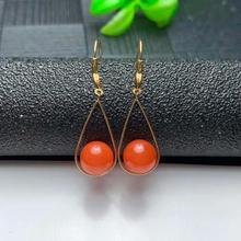 shilovem 18K yellow Gold real Natural south Red agate stud earrings fine Jewelry wedding new plant Christmas gift myme8-8.511nh