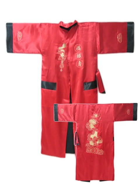 Red Spring Reversible Two-face Chinese Men's Satin Embroidery Robe Kimono Gown Dragon Free Shipping S-23
