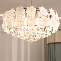 LED Crystal chandeliers lustres de sala Beautiful Rose Style hanging lamps with led bulbs For Bedroom Dining Room Free shipping