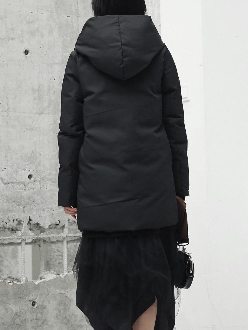 Mi Longue Rembourré Outwear Noir Capuchon Design up Veste Chaud Coton Lâche Dentelle À Manteaux D'hiver Minimaliste Cakucool Femmle Parka Mince AqwgxF7B