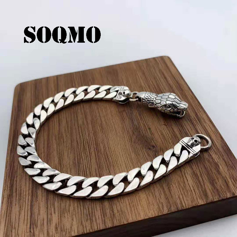 1ce59e4a8645fd SOQMO Real Solid 925 Sterling Silver Bracelet Men 20cm Snake High Polished  Rock Thai Silver For Biker Vintage Punk Jewelry
