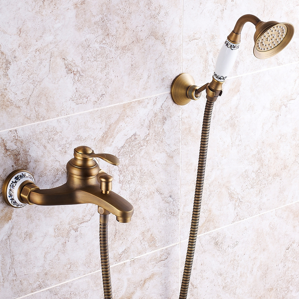 Houmaid Bathroom Antique Full Copper European Hot and Cold Water Shower System Wall Mounted Brass Bathtub Faucet Holder Shower
