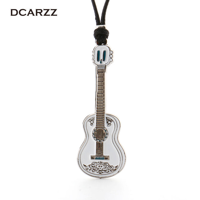 Movie Coco Pixar Necklace Guitar Pendant Handmade Rope