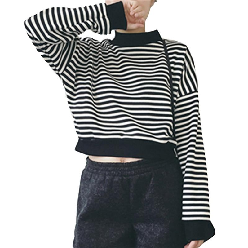 Fashion Stripe Long Sleeve Top O-neck Round Neck Short Pullover Loose Thin Top Sweatshirt Hoody