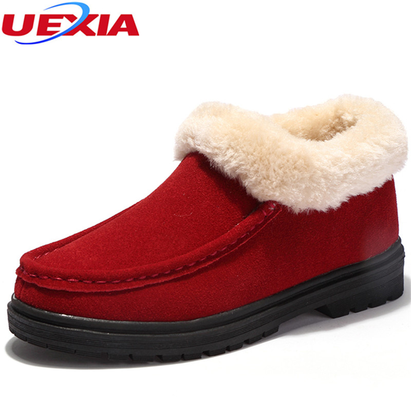 UEXIA Women Shoes Winter Warm Wool Loafers Cow Suede Plush Flats Shoes Woman Round Toe Handmade Leisure Female With Warm White sexemara fashion handwork genuine leather real wool fur women shoes loafers peas shoes woman warm winter flats shoes