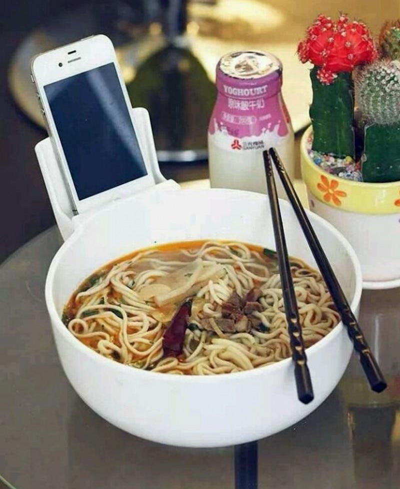 Doprava zdarma Creative Noodle mísa s držákem mobilního telefonu Noodle mísa, rýže mísa s držákem mobilního telefonu Relax Your Hand (223)