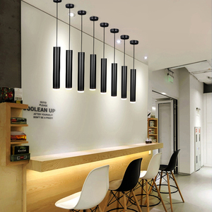 Image 5 - Led Pendant Dimmable Hanging Lights Kitchen Island Dining Room Shop Bar Counter Decoration Cylinder Pipe  Lamps
