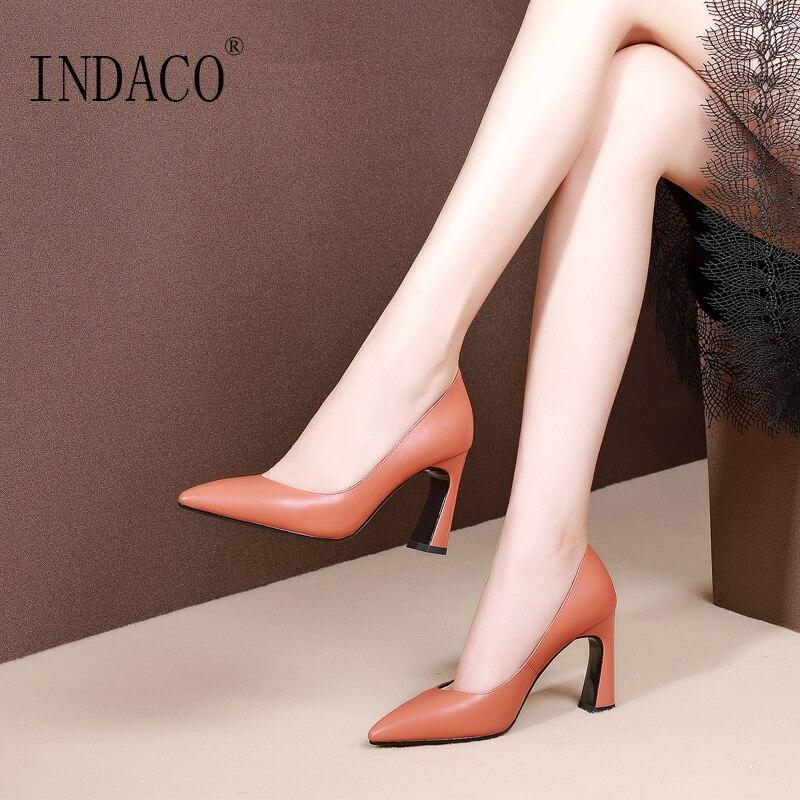 2019 펌프 Women Shoes 가죽 (High) 저 (힐 Pumps 소 Office 숙 녀 Shoes 8 cm-에서여성용 펌프부터 신발 의  그룹 1