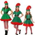 2016 christmas elves costumes Women Christmas Halloween Costume Long Sleeve Green and Red Girl Elf Dress KIDS Christmas Costume