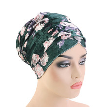 New women Luxury floral Velvet Turban nigerian turban Hijab Extra Long Tube Head Wrap Muslim Scarf turbante Hair accessories