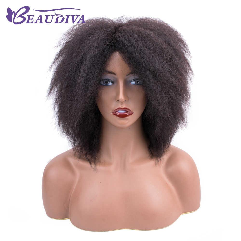 Парики из натуральных волос на кружеве BEAUDIVA для черных женщин бразильский афро кудрявый парик из человеческих волос remy парик фабричного производства