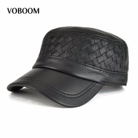 VOBOOM Autumn Winter Genuine Leather Military Hat Men Women Sheepskin Flat Top Army Cap 174