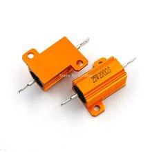 RX24 25W 200R 200RJ Power Metal Shell Aluminium Gold Resistor 25Watt 200 ohm Power Heatsink Resistance Golden Heat Sink Resistor