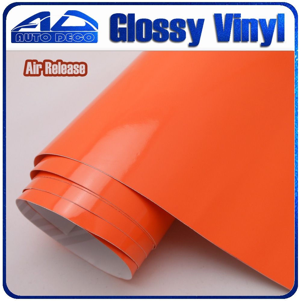 Quality Guarantee Orange Glossy Vinyl for Car Wrapping Deco Film Sticker With Air Channel FedEx Free Shipping Size:1.52*30m/roll