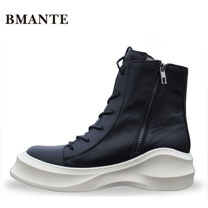 Zipper Real leather bootie brand fashion male Casual shoe tall Footwear high top Thick sole tide