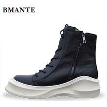 Застежка-молния из натуральной кожи ботильоны модный бренд мужской Повседневное; качественная обувь с высоким берцем на толстой прилив на платформе ботинки Harajuku для мужчин
