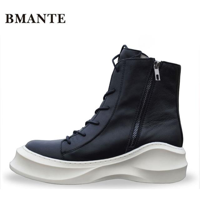 outlet store 2ec4b 72648 US $68.76 20% di SCONTO|Cerniera Vera pelle bootie di marca moda uomo  scarpe Casual alti calzature di alta top Piattaforma Spessa suola marea  Harajuku ...
