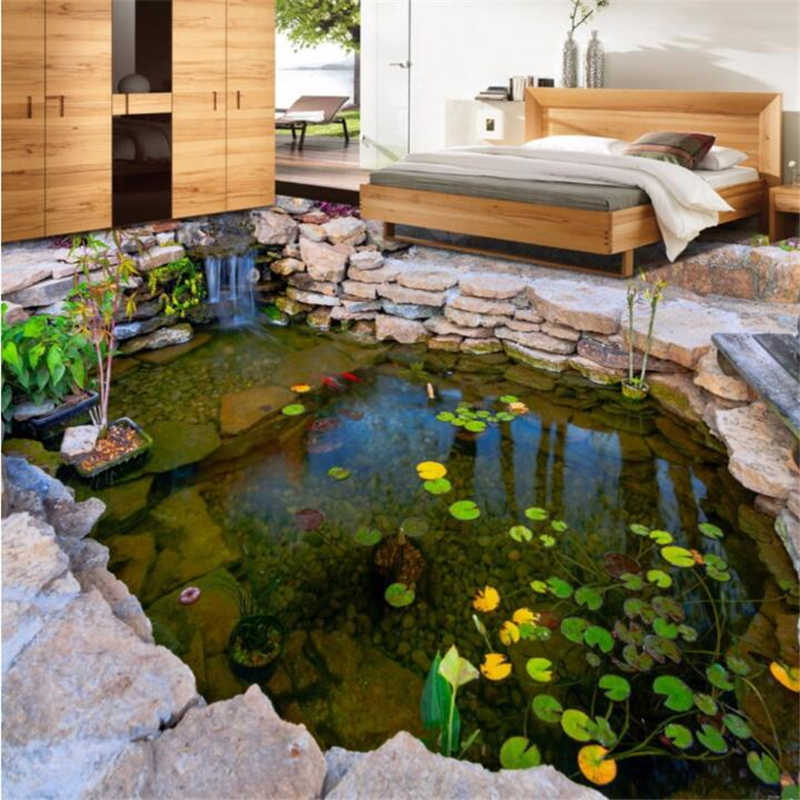 beibehang Custom floor painting 3d self-adhesive floor pond river pond stone rockery lotus leaf bedroom floor painting wallpaper