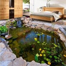 beibehang Custom floor painting 3d self-adhesive pond river stone rockery lotus leaf bedroom wallpaper