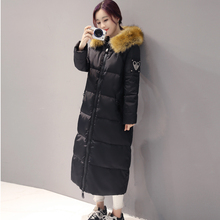 Fur Collar Womens Duck Down Coat 2016 Winter Cotton Down Jacket Women Long Coat Parkas Female Hooded Warm Clothes