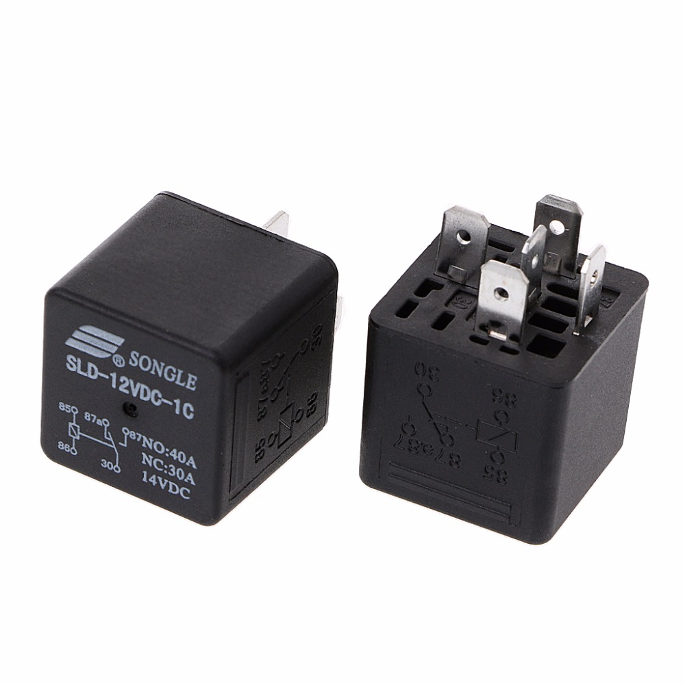 2Pcs SLD-12VDC-1C 1.6W High Power Relay NO <font><b>40A</b></font> NC 30A 5pin Automotive Relay image