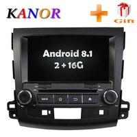 KANOR Android 8,1 оперативная память 2 Гб ips 2din автомобильный DVD видео плеер для Mitsubishi Outlander 2009 2010 2011 2012 с WI FI Autoraio SWC