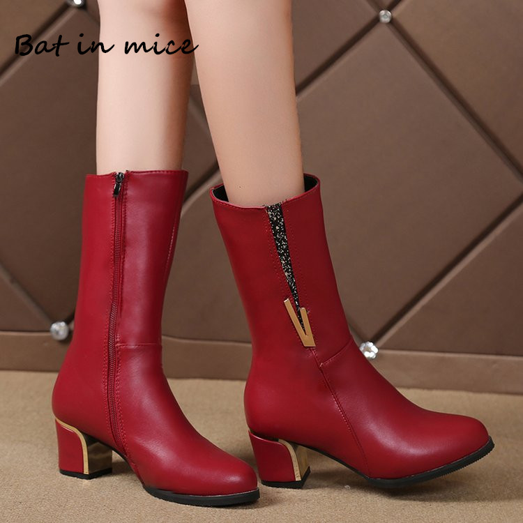 New Winter women casual PU Leather Mid-Calf boots shoes women Warm Round Toe Zipper high heels pumps Snow Boots shoes mujer W388 2017 winter female high heeled shoes solid high quality women casual boots zipper women mid calf boots pointed toe martin boots