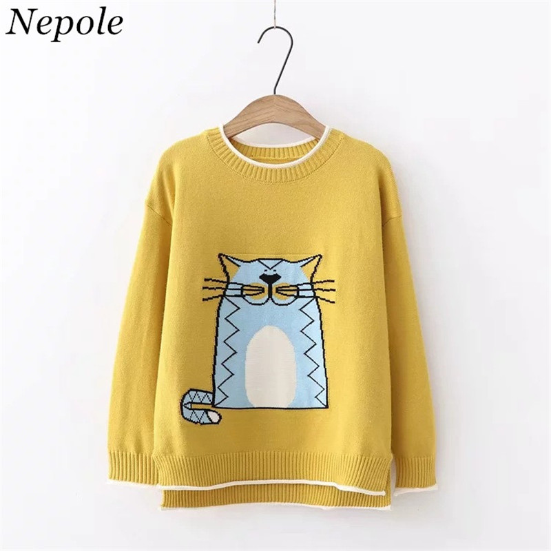 Neploe Warm Pullover Sweater Female Cat-Pattern Sueter Knitted Catoon O-Neck Sweet Mujer