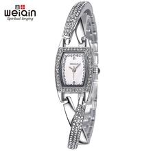 2016 Caliente WEIQIN Reloj Pulsera de Las Mujeres Elegantes Diamantes de Imitación de Plata de La Marca de Moda de Cuarzo Analógico Reloj de pulsera de Reloj relojes mujer