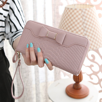 Bow-Decorated Cute Leather Women's Wristlet Bags and Wallets Hot Promotions New Arrivals Women's Wallets