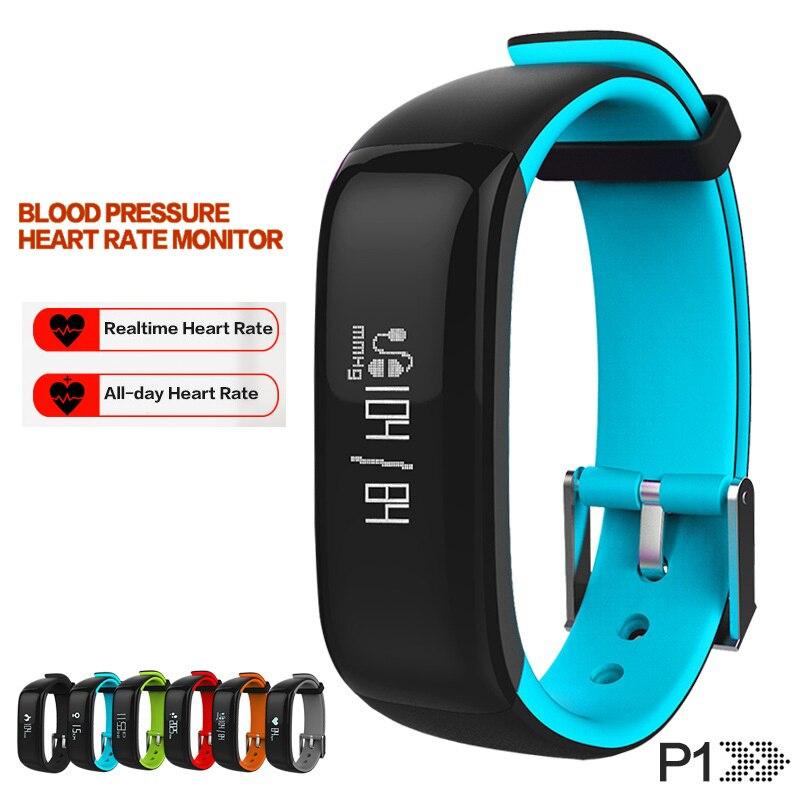 New P1 Bluetooth Smartband Blood Pressure Monitor Heart Rate Monitor Wristband Waterproof IP67 Smart Bracelet Wearable
