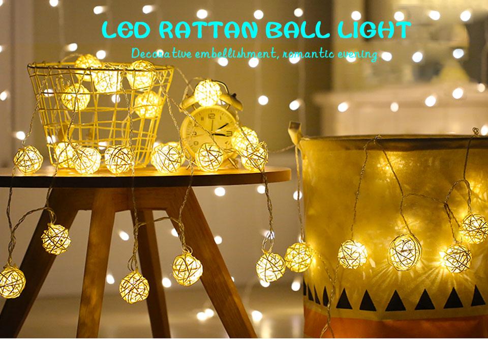 Rattan Balls LED String Lights Battery Garland Cotton Ball Light Chain Guirlande Lumineuse Holiday Christmas Lights Balls (1)