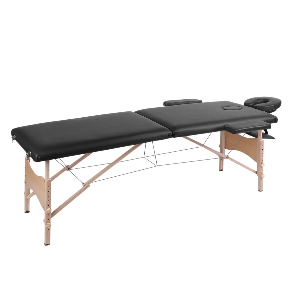Folding 2 Sections Professional Wood Frame Stationary Massage Bed Beauty Therapy SPA Salon Couch Massage Table Bed