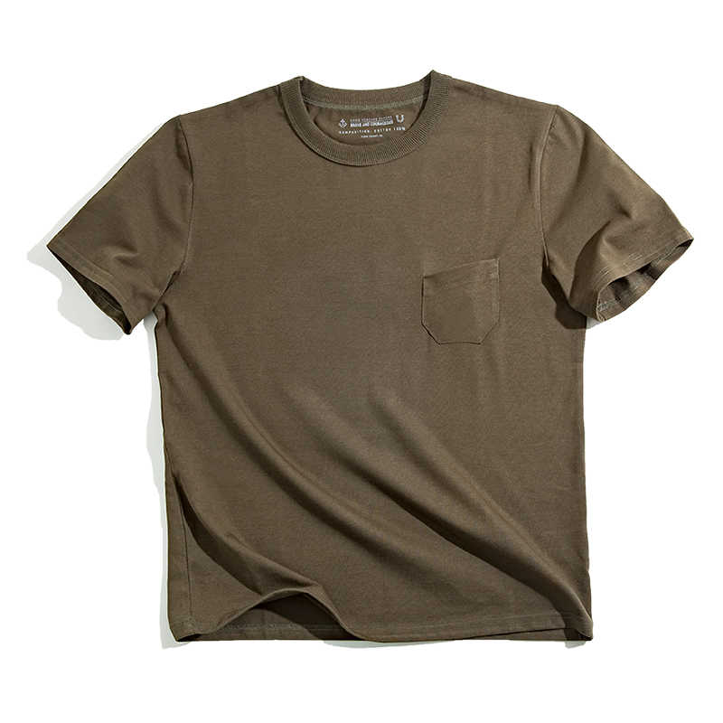 bdeb2db4078a ... Maden Men's Summer Designer t Shirt Short Sleeve Regular Fit 100%  Cotton Solid Army Green