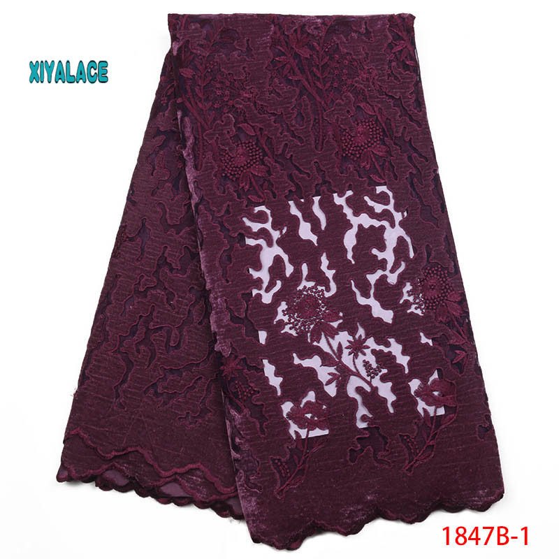 Blue African Lace Fabric 2019 High Quality Nigerian Lace Fabrics Cord Fabric Embroidery French Velvet Tulle Lace YA2413B-5